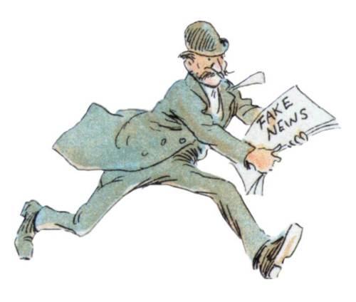 חדשות מזויפות – פייק ניוז. מקור: Stuart Rankin, מבוסס על קריקטורה ישנה.