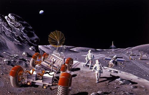 איור של בסיס מאויש על הירח. האם התגלית החדשה תקדם משימות מאוישות לירח? מקור: NASA/Dennis M. Davidson.