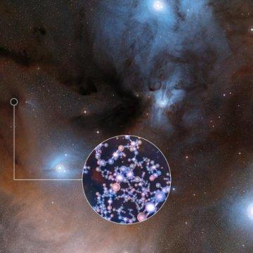 תמונה זו מציגה את האזור המרהיב של היווצרות כוכבים שבו נמצא methyl isocyanate. בתוך העיגול – המחשה של מראה את המבנה המולקולרי של כימיקל זה. איור: ESO/Digitized Sky Survey 2/L. Calçada