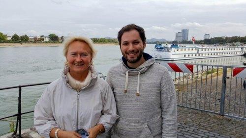 עדן אבישי ופרופ' אולגה גולובניצ'יה ליד נהר הריין בעיר בון. מקור: באדיבות הטכניון.