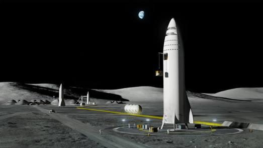 ה-BFR יוכל לבצע גם משימות מאוישות לירח, לא רק למאדים. למעשה, מאסק הסביר, ה-BFR מתוכנן כך שיוכל לנחות על כל פלנטה או ירח במערכת השמש, בין אם יש לו אטמוספירה, או לאו. מקור: SpaceX.
