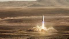 הדמייה של חללית ה-BFR ממריאה ממאדים בחזרה לכדור הארץ. כוח המשיכה החלש של מאדים, יחד עם האטמוספירה הדלילה שלו, מאפשרים לחללית להמריא לחלל ללא צורך במשגר הענק שעל גביו היא נשאת בשיגור מכדור הארץ. מקור: SpaceX.