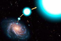 """איור אמן של כוכבים בורחים שהצליחו לצאת מכוח המשיכה של שביל החלב. איור: נאס""""א"""