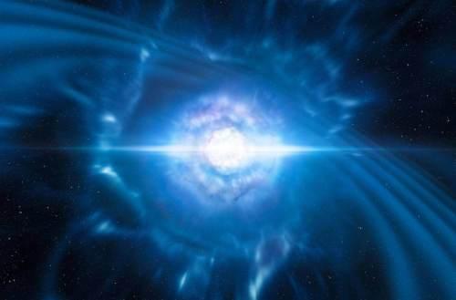 הדמיה של קילונובה: מיזוג והתנגשות של שני כוכבי ניטרונים זעירים אך דחוסים מאוד. מקור: ESO/L. Calçada/M. Kornmesser.