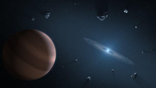 איור המראה כוכב לכת ודיסקת שפוכת מקיפים ננס לבן מזוהם. איור : NASA/JPL-Caltech