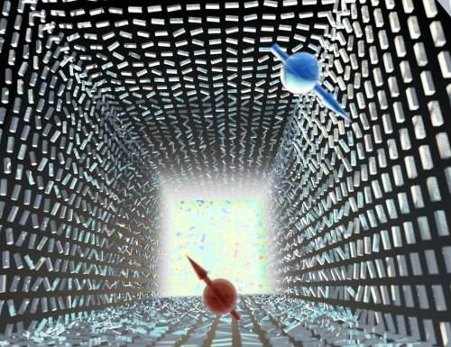 """המפץ הגדול הפוטוני: אי סדר חלש יוצר הפרדה חלשה ננומטרית בין פוטונים עם ספין הפוך (אדום וכחול) – """"אפקט ספין-הול פוטוני"""". רק באי סדר מוחלט מתרחש """"המפץ הפוטוני"""" – פוטונים בספינים הפוכים מתפצלים וממלאים את כל מרחב התנע – """"אפקט רשבא הפוטוני"""". התופעה מתארת מעבר פאזה טופולוגי שמתבטא בשבירת סימטריה. המחקר נערך בהשראת מודלים בקוסמולוגיה שמתארים את המפץ הגדול. בתמונה מתוארות ננואנטנות מסיליקון, והמעבר מאנטנות מסודרות בכיוונן לאי סדר מוחלט מתבטא במדידת עליה חדה של האנטרופיה (כמדד לאי סדר). מקור: הטכניון."""