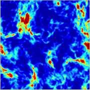 תבנית של גלי הרדיו בשמיים שנוצרת מהשילוב של קרינה מהכוכבים הראשונים והשפעת החומר האפל. האזורים הכחולים הם אלה שבהם החומר האפל קירר במיוחד את החומר הרגיל. מקור: פרופ' רנן ברקנא.