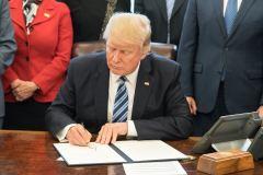 הנשיא דונלד טראמפ בחדר הסגלגל, 13 במרץ 2017. מקור: הבית הלבן וערוץ הטוויטר של טראמפ.
