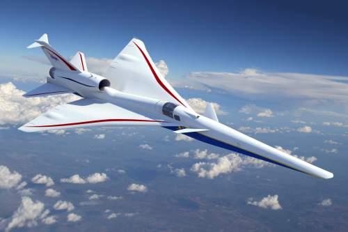 """אב טיפוס של מטוס X-plane העל קולי המתוכנן לטוס בגובה 55 אלף רגל, במהירות של 1.4 מאך וייצור גלי הדף עדינים. צילום יח""""צ Lockheed Martin Aeronautics"""