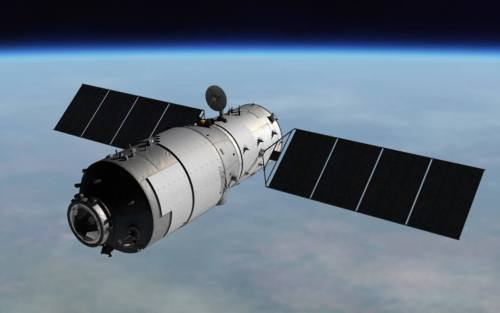 תחנת החלל הסינית טיאנגונג-1. איור: סוכנות החלל הסינית