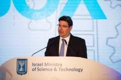 שר המדע והטכנולוגיה אופיר אקוניס בכנס שרי מדע מרחבי העולם שהתקיים בירושלים. צילום שרון עמית