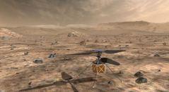 """מסוק המאדים, כל טיס רוטורי אוטונומי קטן, ייסע עם הרכב של נאס""""א מאדים 2020, ששיגורו מתוכנן כעת ליולי 2020, כדי להדגים את יכולת הקיום והפוטנציאל של כלי טיס כבדים מהאוויר על כוכב הלכת האדום. איור: NASA/JPL-Caltech"""