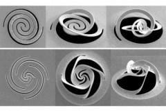 בתמונה: הדפסים שונים על משטח מתכת שנוצרו על ידי אלומה ממוקדת של חלקיקים טעונים. אלומה זו גרמה למשטח להתעקם בתבנית שתוכננה מראש כדי לקטב את האור. Credit: Courtesy of the researchers