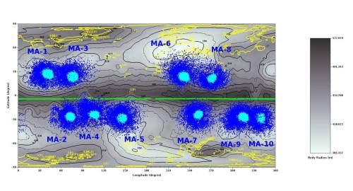 בתמונה זו קיימים 10 איזורי נחיתה אפשריים  להיאבוסה 2 ולנחתותיה, אשר מסומנים בתכלת , ואילו בכחול מסומנים איזורי הייצוב לאחר הניתורים הראשונים כתוצאה מהנחיתה של רכבי השטח.
