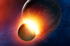 """הדמיית ההתנגשות של גוף בגודלו של הירח בכוכב לכת בגודלו של כדור הארץ. איור: נאס""""א"""