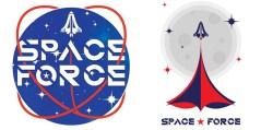 שתיים מתוך שש הצעות לסמליל (לוגו) זרוע החלל, מתוך אתר הבחירות של טראמפ ופנס לשנת 2020
