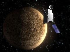 החללית בפי-קולומבו ליד כוכב חמה. איור: סוכנות החלל האירופית ESA