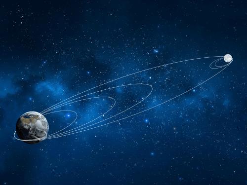 סימולציה של מסלול החללית בראשית עד למפגש עם הירח. איור: SpaceIL והתעשייה האווירית.