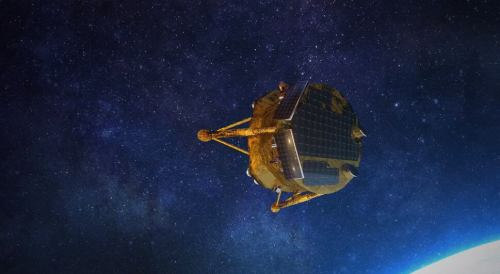 החללית בראשית. הדמיה: SpaceIL והתעשייה האווירית.