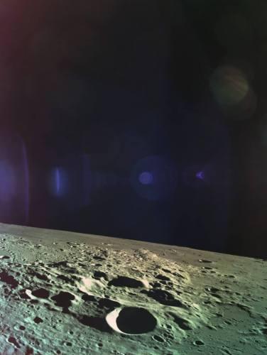 התמונה השניה והאחרונה ששלחה החללית בראשית לפני התרסקותה על הירח, ב-11 באפריל 2019. צילום: SpaceIL והתעשייה האווירית