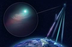 באיור, טלסקופ הרדיו ASKAP של סוכנות המדע הראשית של אוסטרליה CISRO גילה התפרצות רדיו מהירה וקבע את מיקומה המדויק. לאחר מכן הופנו טלסקופים קרקעיים ברחבי העולם KECK, VLT וג'מיני, הצטרפו ל - לתצפיות מעקב אחר הגלקסיה שבה התרחש האירוע. CSIRO / Andrew Howells