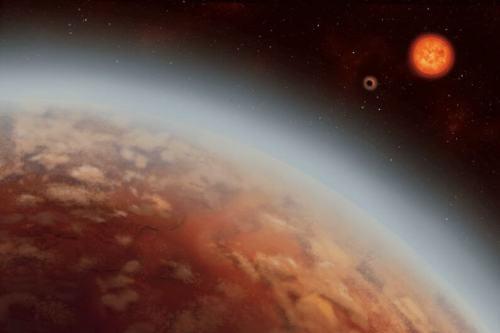 המחשת אמן של כוכב הלכת K2-18b. איור: ALEX BOERSMA, אוניברסיטת מונטריאול
