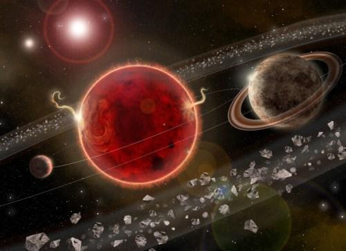 כוכב הלכת שהתגלה (מימין), לצד פרוקסימה קנטאורי (אדום), כוכב הלכת הקטן יותר וטבעת האבק. איור: Lorenzo Santinelli