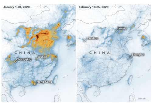"""ירידה בהיקפי זיהום האוויר בסין בעקבות צמצום הייצור בשל הצעדים לעצירת מגיפת הקורונה. צילום: נאס""""א"""