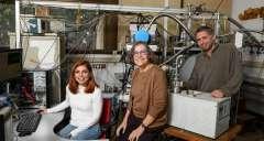 מימין: ד״ר עקיבא פיינטוך, פרופ׳ דניאלה גולדפרב וד״ר אנג'ליקי ג'יאנוליס. ראו חלבון סגור. צילום: דוברות מכון ויצמן