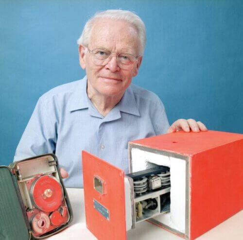 David Warren with the prototype of the black box.  From Wikipedia