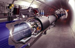 בתוך תעלת מאיץ ההדרונים הגדול בסרן, ז'נבה. צילום: CERN