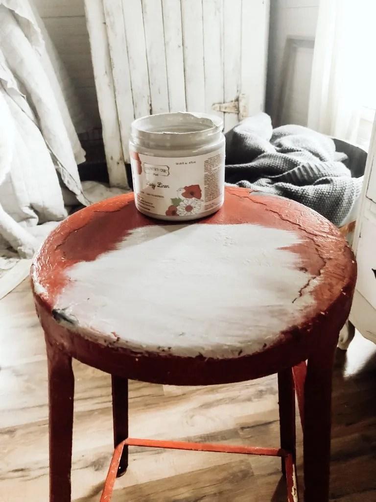 Vintage Painted Metal Stool