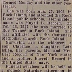 Obituary: Muyrll Record Turner, Wife Of Roy Turner Died At Age 21