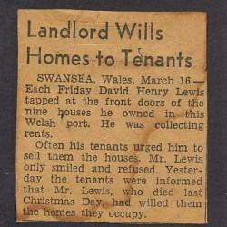 Swansea Resident David Henry Lewis Wills Homes To Tenants