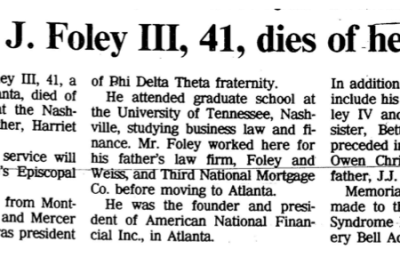 Jonathan J Foley III, Dies of heart failure (Obituary)