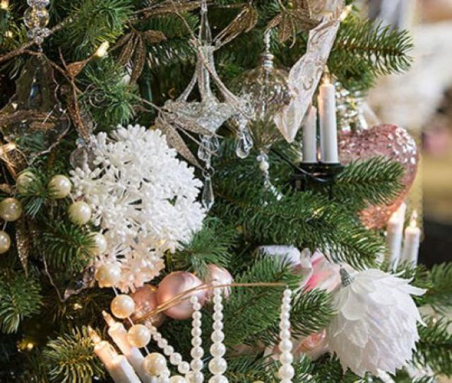 Artificial Christmas Tree Decorated In White Oyster Rose And Cream