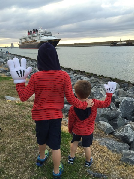 Waving to the Disney Cruise Ship at Port Canaveral