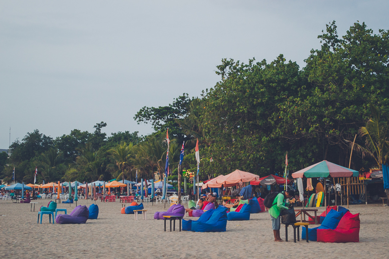 Beach Bars on Legian Beach in Bali, Indonesia