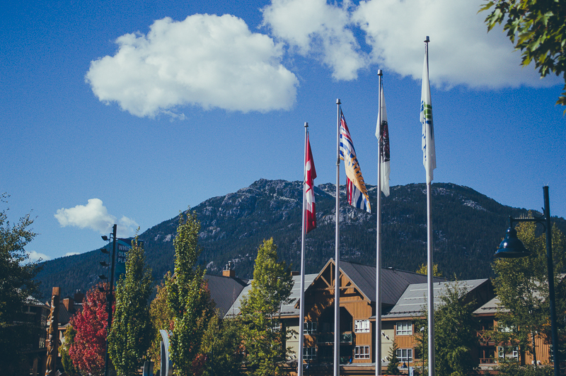 Looking up in Whistler Village, Canada