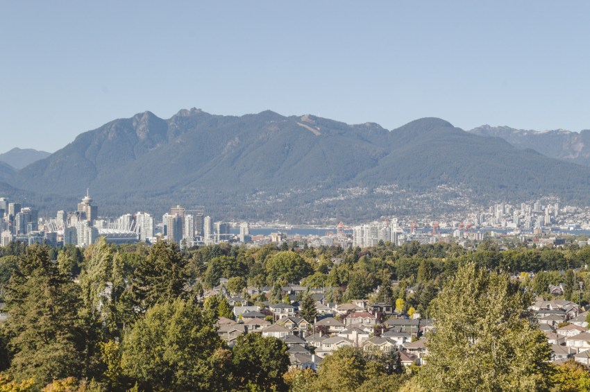 See the Vancouver skyline from Queen Elizabeth Park