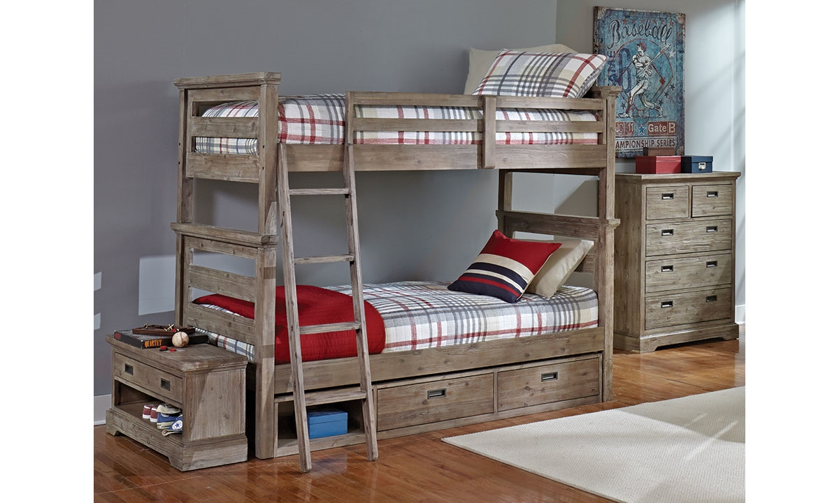 Haynes Furniture Oliver Solid Acacia Twin Over Twin Bunk Bed