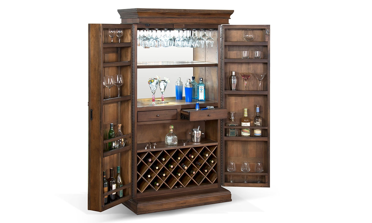 Savannah 2 Door Walnut Bar Armoire Amp Wine Cabinet Haynes