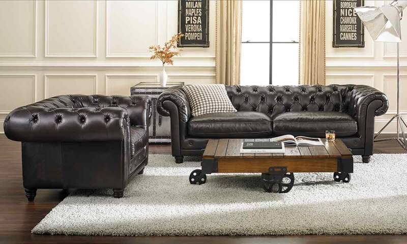 Haynes Furniture  93 Inch Top Grain Hand Tufted Chesterfield Sofa Picture of 93 Inch Top Grain Hand Tufted Chesterfield Sofa