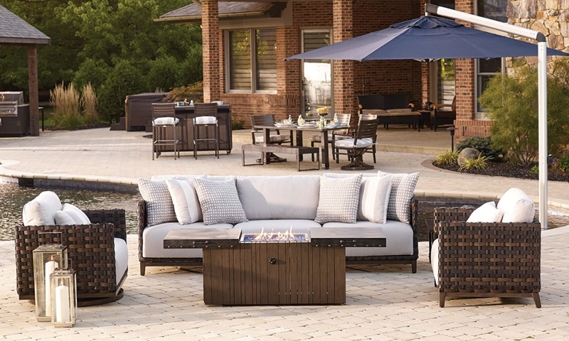 Plank & Hide Saba Outdoor Living Room with Cocktail Table ... on Living Room Fire Pit id=96859