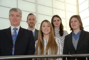 Hayward Miller team, left to right: Managing Director, Andrew Hayward; Training and Development Manager, Mike Newboult; Sales Co-ordinator, Samantha Sacks; IT Apprentice, Georgia McGhee and Market Researcher, Laurel Deegan.