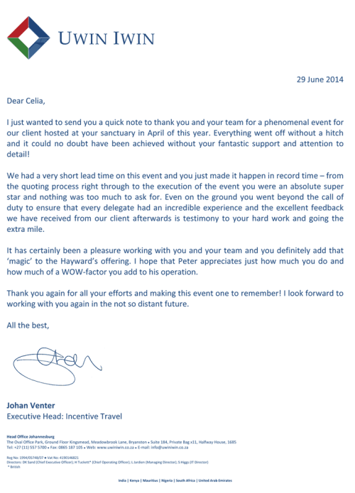 Commendation Letter - Uwin Iwin