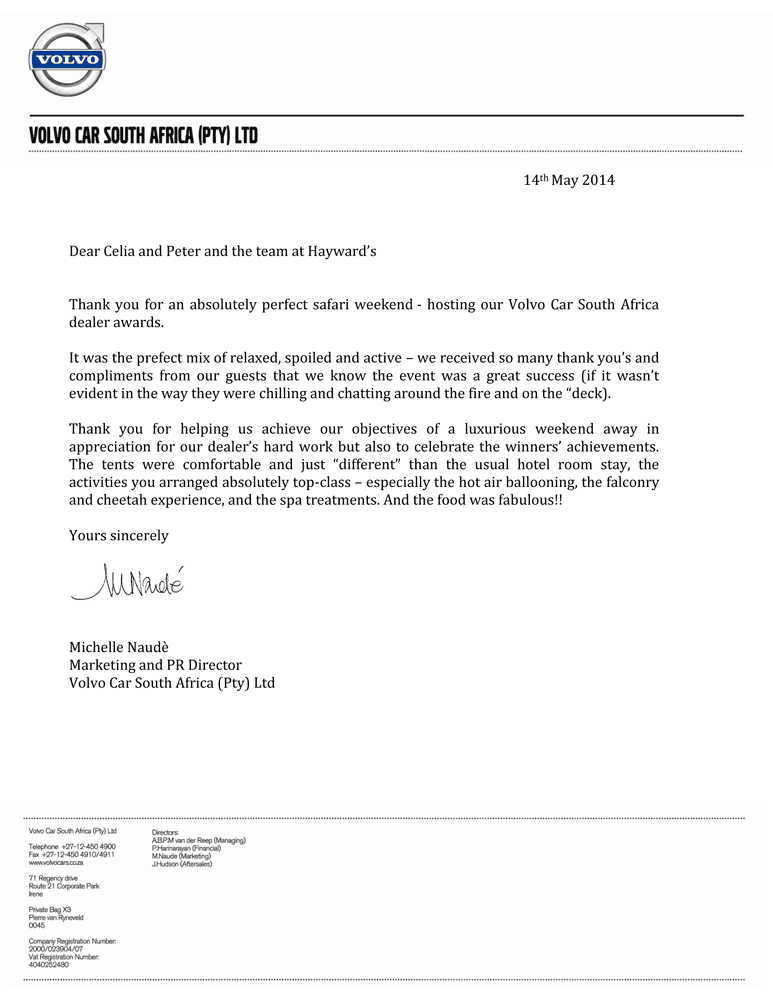 Commendation Letter Volvo Haywards Luxury African Safaris