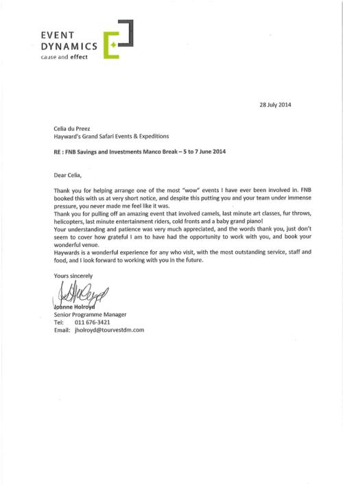 Event Dynamics Commendation Letter