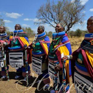 Ndebele women in full beaded tribal wear