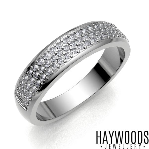White Gold Pave Set Diamond Ring